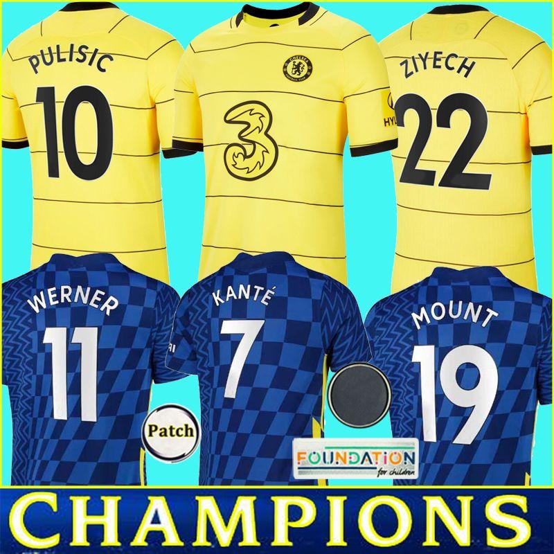 2021 Camisa de futebol HAVERTZ KANTE ZIYECH WERNER camisa de futebol CHILWELL SILVA ABRAHAM MOUNT PULISIC camiseta futbol maillot de foot Masculino Infantil Kit Uniforme