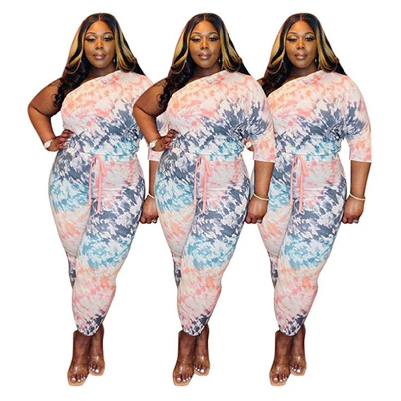 Women plus size Tracksuits fall winter clothes running fitness joggers off shoulder t-shirt pants sportswear pullover leggings outfits sweatshirt bodysuit 01634
