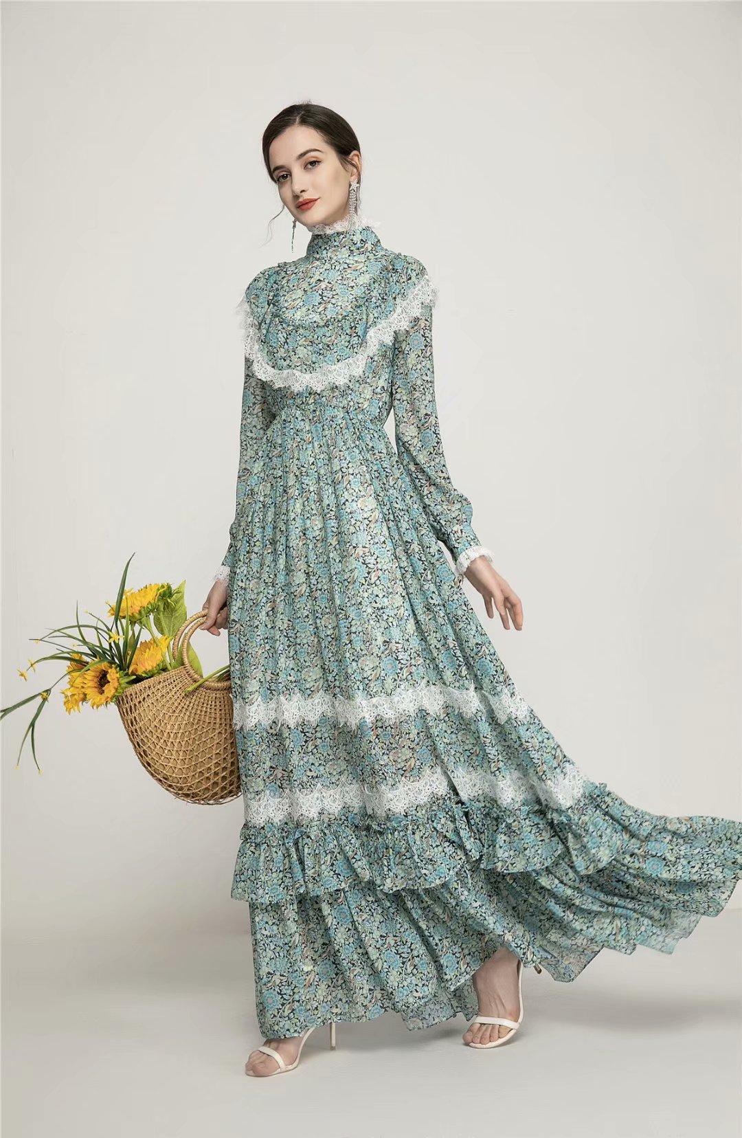 İlkbahar ve yaz yeni stil: dantel kenarı, ince ve ince, kek etek ile retro çiçek baskı elbise