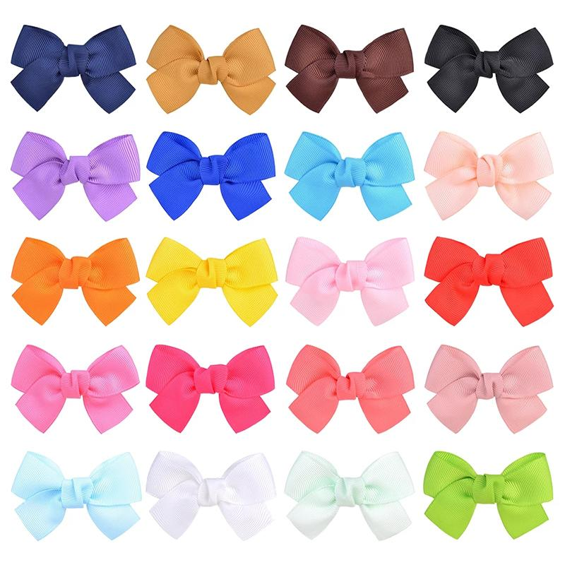 20 Colors Solid Hair Bows With Clip For Sweet Girls Hair Clips Boutique Hairpins Barrettes Headwear Kids Hair Accessories