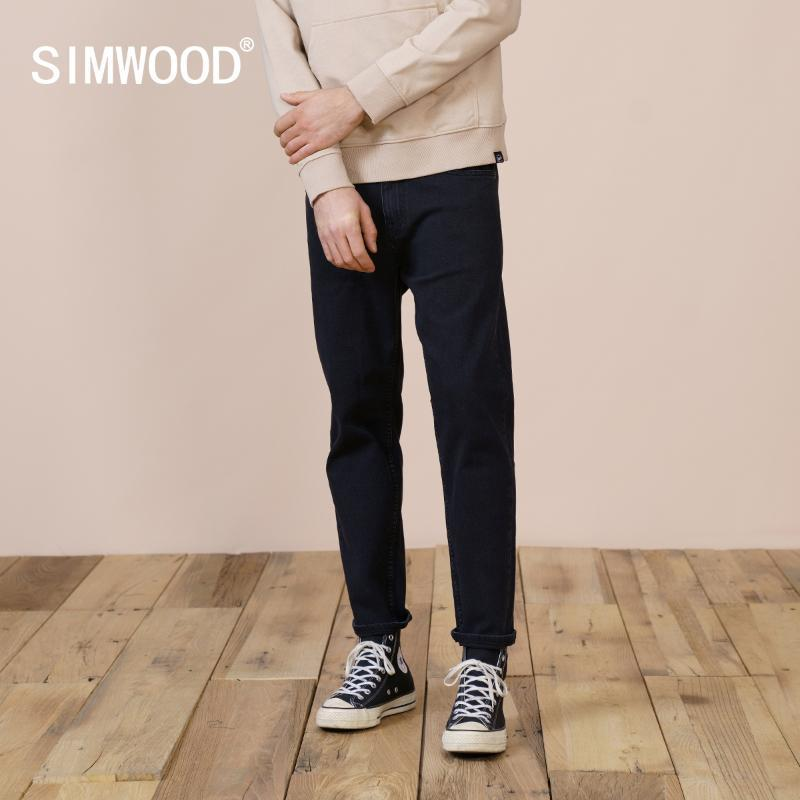 Jeans masculinos Simwood 2021 Primavera Verão Confortável Homens cônicos Preto Plus Size Alta Qualidade Denim Calças Marca Roupas SK130347