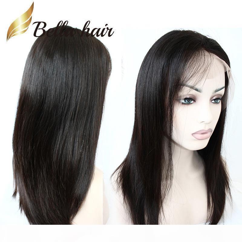 Droit doux et soyeux 100% cheveux humains Perruque naturelle de cheveux naturels glueurs pleines perruques de dentelle dentelle perruques avant avec des cheveux bébé pour femmes