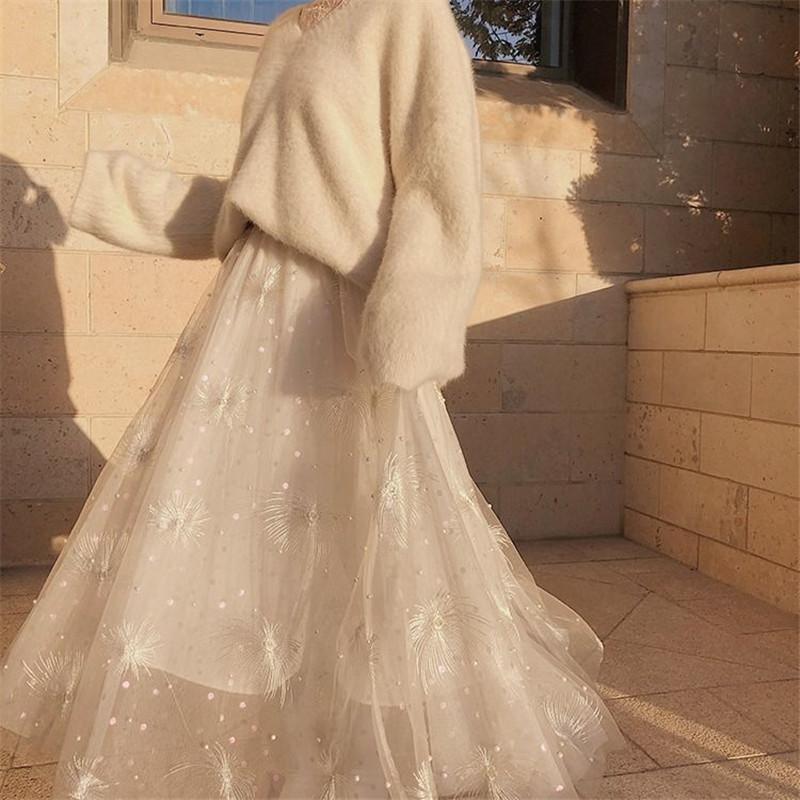 2021 Элегантная вышитая сетка жемчуга слои многоуровневые тюль женщин высокая талия длинные макси розовый белый школьный юбка Sun Lady p5fj