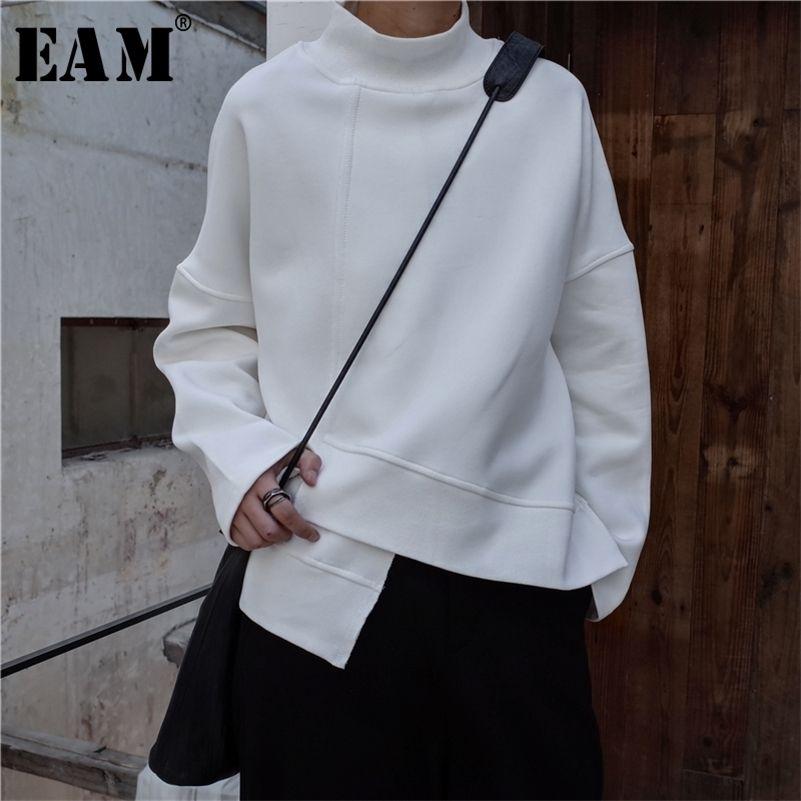 [EAM] Новый весна с высоким воротником с длинным рукавом черный свободный нерегулярный подол. Большой размер Толстовка женская мода Tide LJ200904