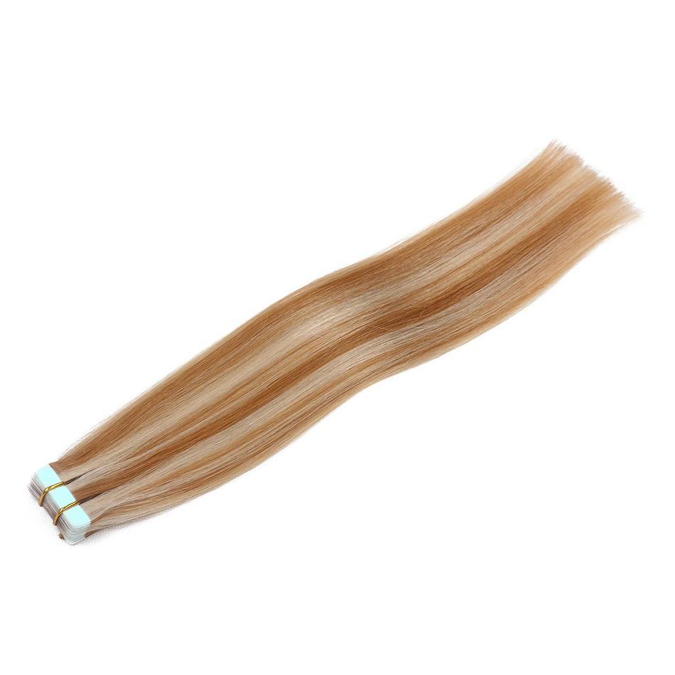 Perruques de Cheveux humains Humains Invisible Ruban Remy EXTENDUES DE CHEVEUX PIANO COULEUR 27/613 100% REMY Cheveux humains 14-24Inch