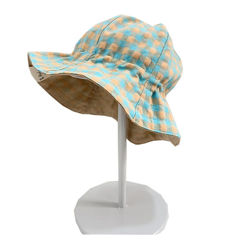 Multi Check Kids Bucket Hat 42-50cm Toddler Sun Hats Elastic Design Summer Bill Hat 6Colors Kids Sunhat DOM106CH004
