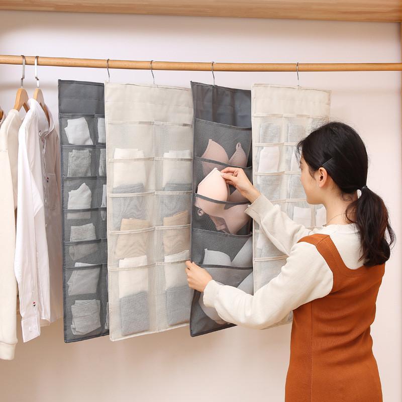 Double-Sided Hanging Bag Underwear Socks Bra Hanger Multi-Pocket Storage Bags Breathable Wardrobe Organizer Oxford Closet Sundry