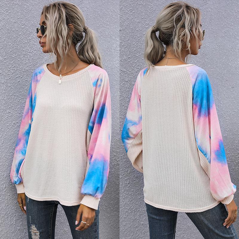 2021 Bahar Yeni Varış Triko Kazak Kadın Ekip Boyun Kravat Boyalı Patchwork Gömlek Uzun Kollu T Shirt Gevşek Bluzlar