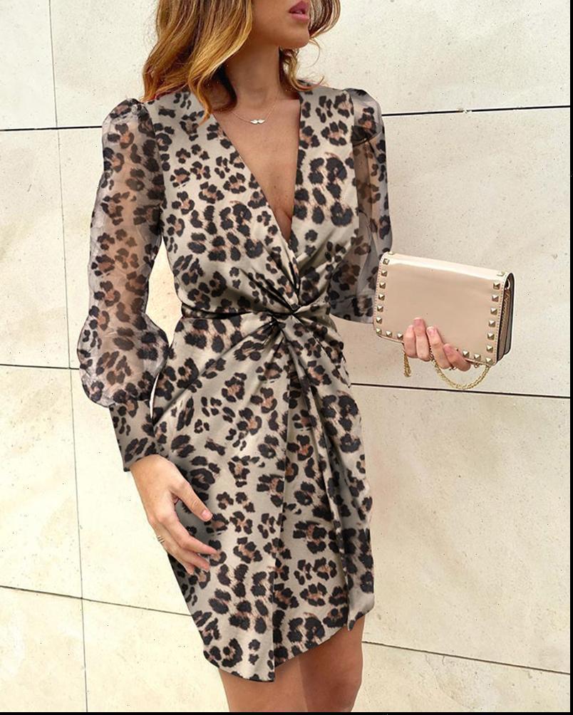 Donne eleganti Leopardo stampa mini abito 2021 moda manica lunga manica lunga nodo profondo scollo sexy vestito ufficio abiti da donna