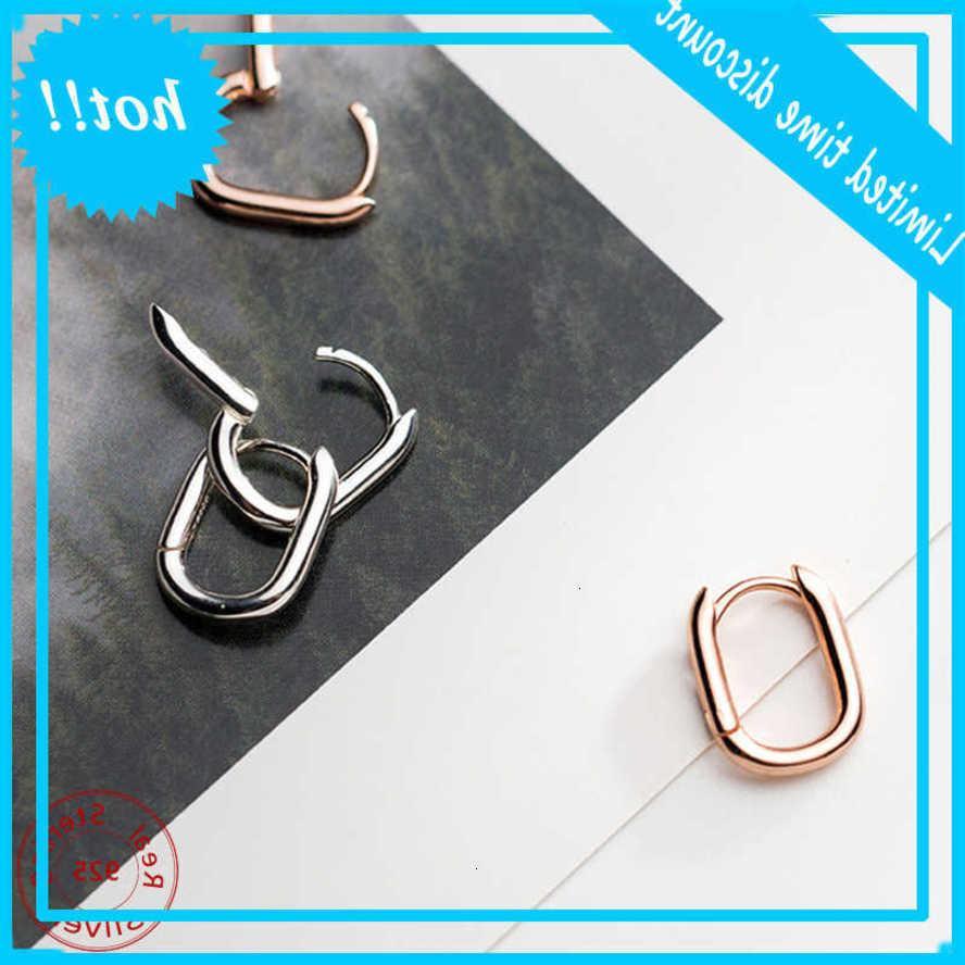 100% Real 925 Sterling Silver Jewery Joyería Coreana Oval Aro para las Mujeres Minimalistas Pendientes Geométricos Pequeños Alta Calidad