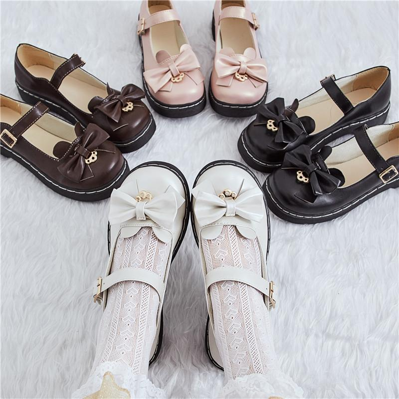 Kızlar Mary Janes Bowtie Lolita Ayakkabı 2020 İlkbahar Sonbahar Kadın Flats Yuvarlak Ayak Prenses Ayakkabı Beyaz Siyah Mujer 8039n