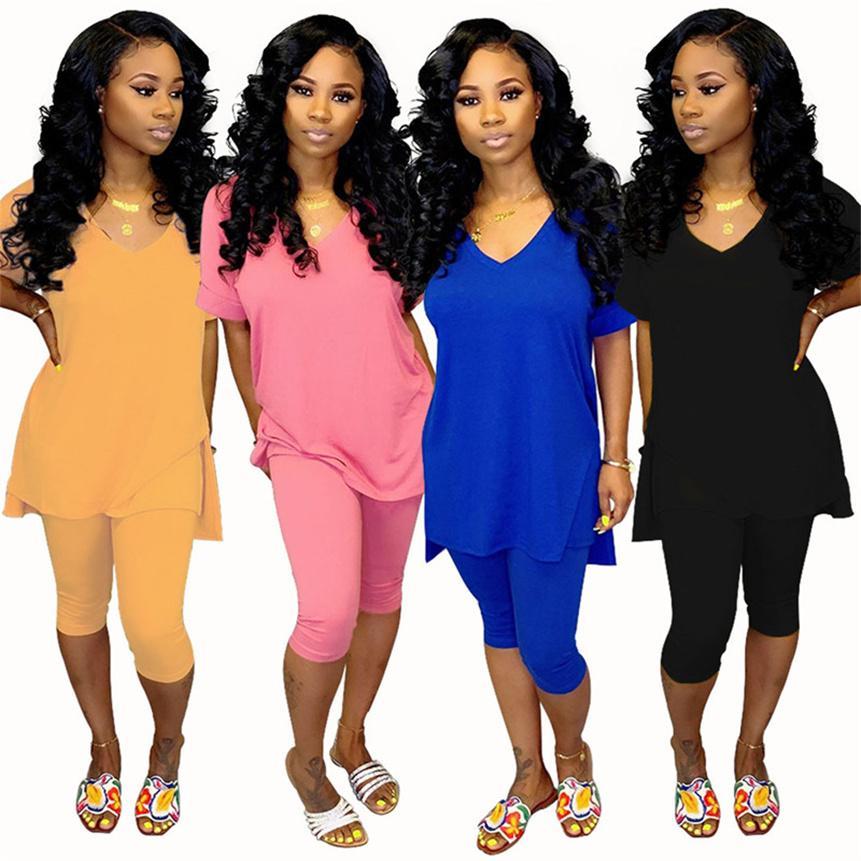 Frauen plus Größe Jogger Anzug Massivfarbe Trainingsanzug Lässig 2 Stück Sets Sommerkleidung Kurzarm T-Shirt + Shorts Sport Outfits 4578