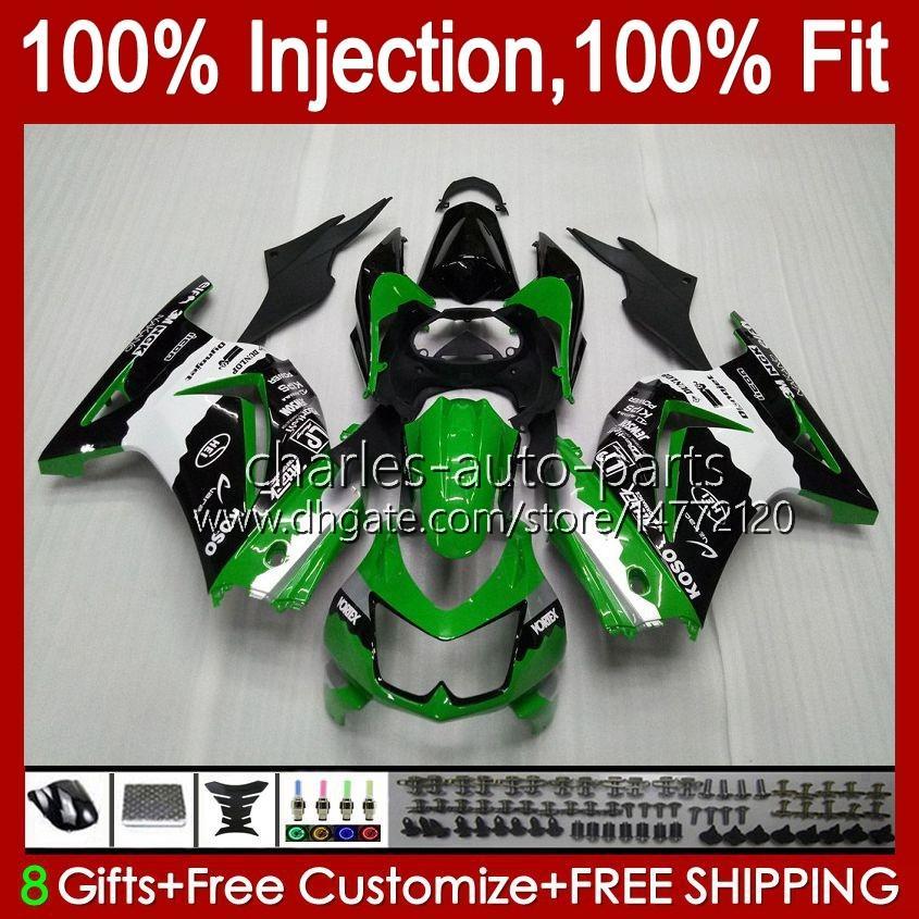 Injektion för Kawasaki Ninja ZX250R EX250 2008 2009 2010 2011 2012 13HC.80 Grön svart ex250R ZX-250R ZX250 ZX 250R 08 09 10 11 12 FAIRING
