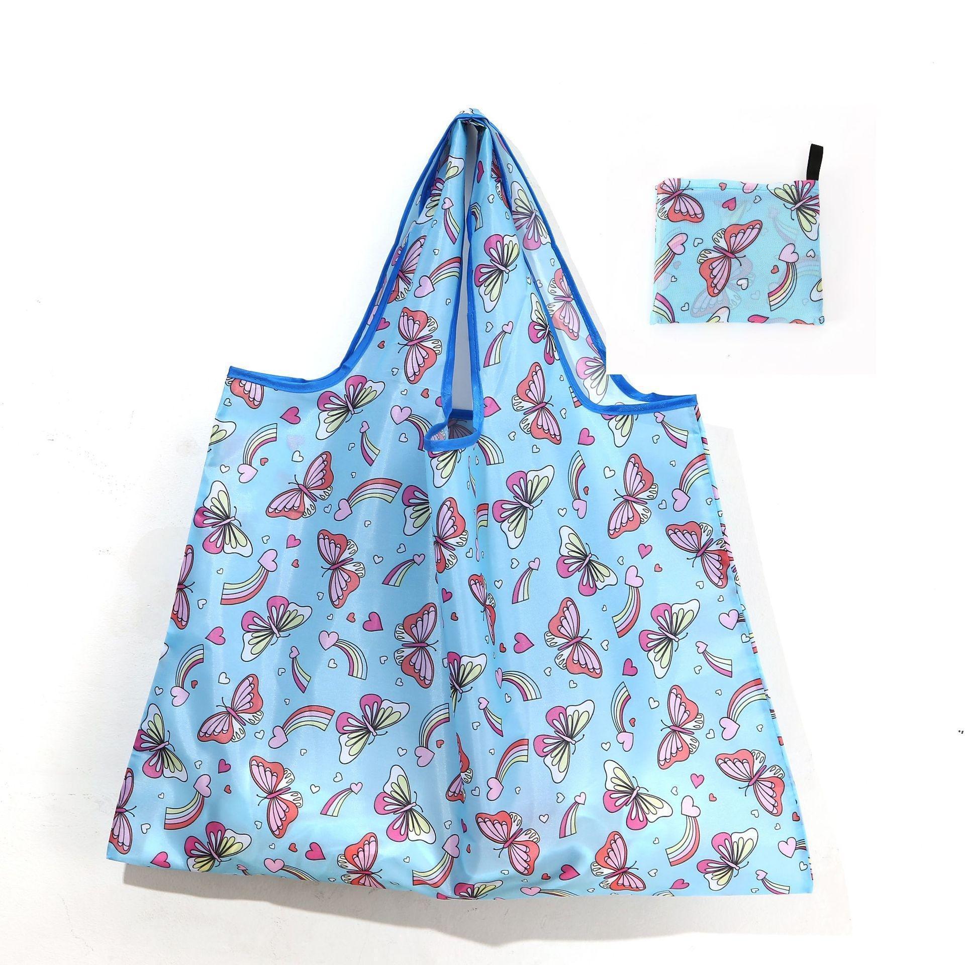 أكسفورد القماش أكياس التسوق قابلة لإعادة الاستخدام النساء طوي حمل حقيبة قابلة للطي قدرة كبيرة حقائب اليد المحمولة حقيبة بقالة البيئة حقيبة AHF5520