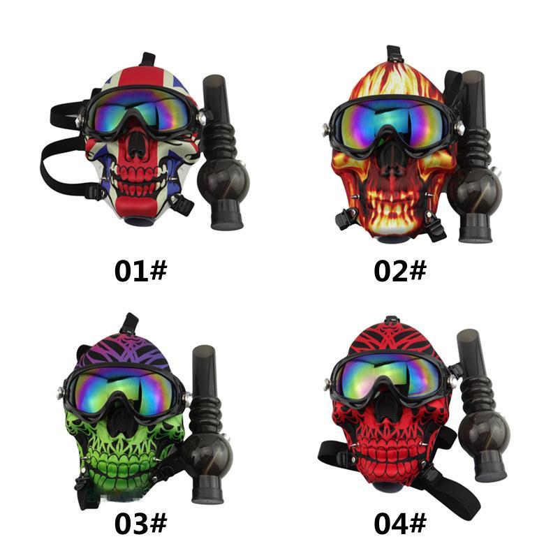 Mascarilla de gas de silicona Bong Creative Skull Pattern Acrílico Tubo de agua con gafas de sol Hierba seca Fumar aceite quemador Multifunción Hookah Shisha