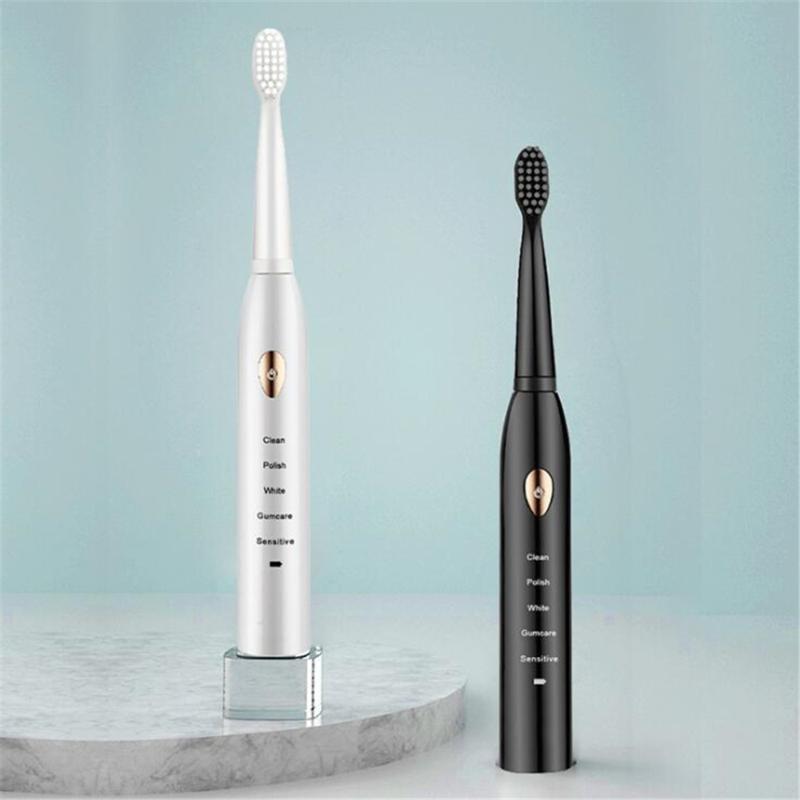 Cepillo de dientes eléctrico inteligente Sonic Ultrasonic Cepillo automático de dientes 5 engranajes USB Recargable adulto impermeable resistente al agua