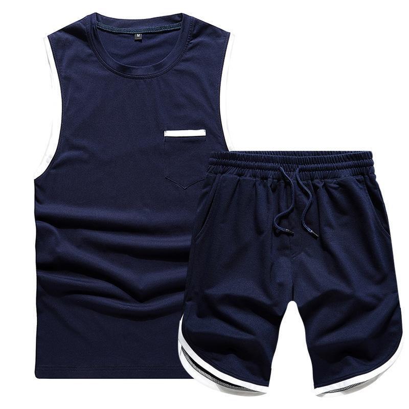 Puños de primavera y verano Contraste Color Sin mangas Pequeño bolsillo Chaleco Capris Sports Sports Traje