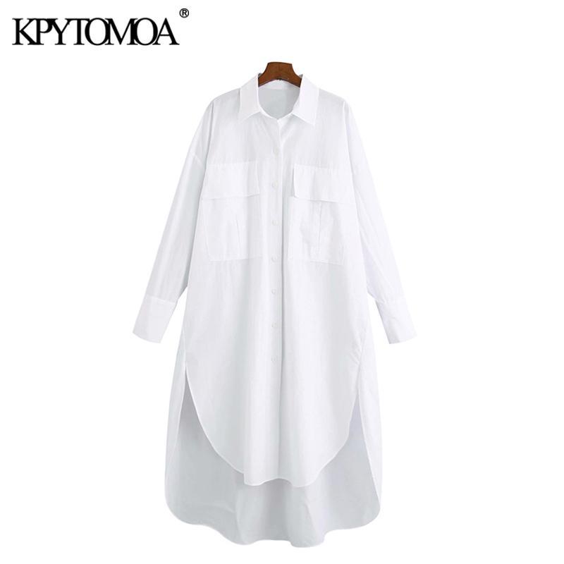 Kpytomoa donna moda con tasche sovradimensionate camicette irregolari vintage manica lunga stende focaccine femminili magliette chic top 210226