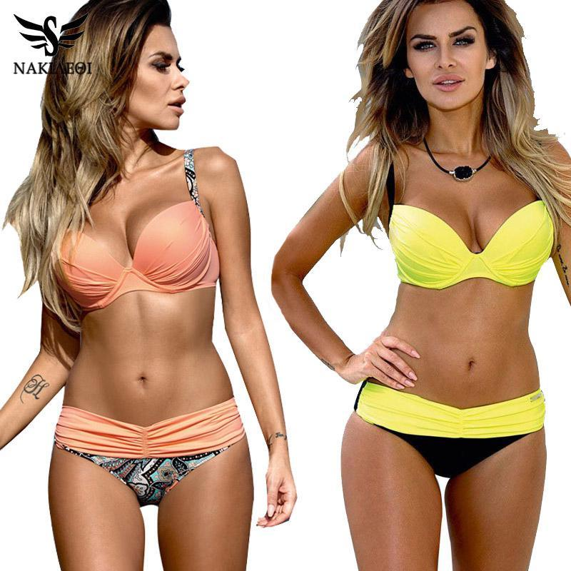 Nakiaeoi Sexy Bikinis Женщины Купальник 2021 Летние Низкие Цузы Купальники Холтер Верхний Push Up Bikini Set Plus Размер Купальники XXL