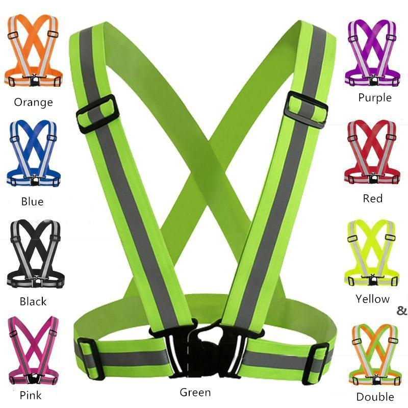 Safety Gear Night Running Reflective Vest Clothing High Visibility Adjustable Elastic Strip Vest Jacket For Traffic Safety Cycling EWD4930