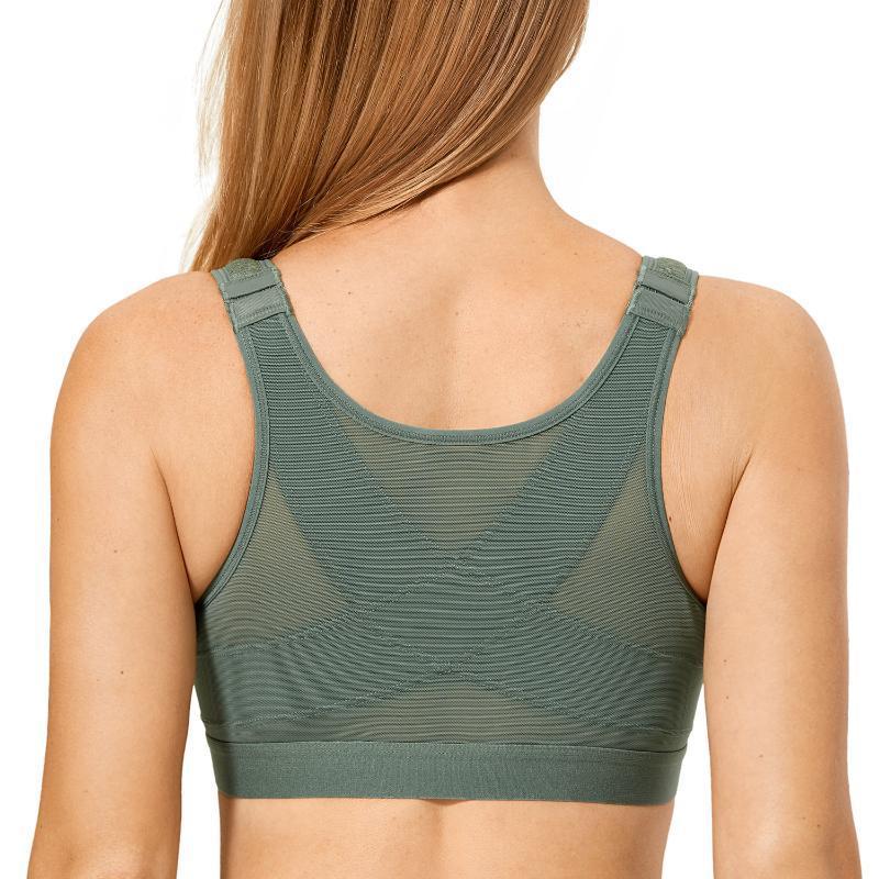 Frauen vollständige Abdeckung Wireless X-Form-Rückenstütze Nicht gepolsterte Frontverschluss Haltung BH Plus Größe