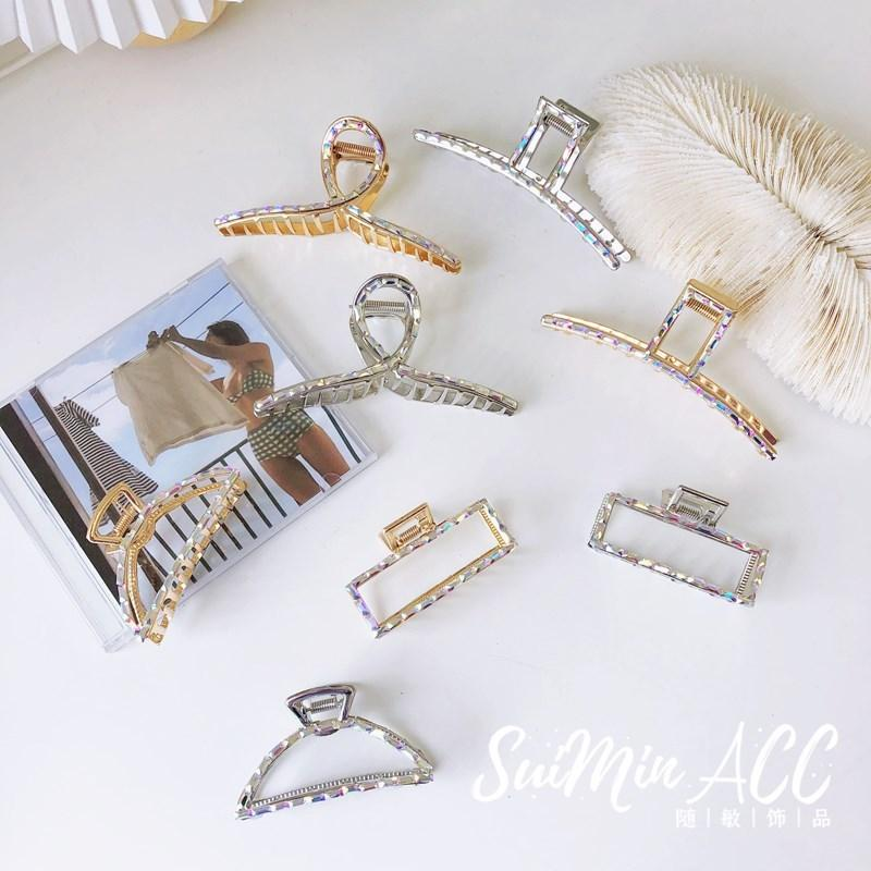 Ins Jewelry Net Red Female Metal Full Diamond Shark Clip Korean Style Accessories Temperament Simple Alloy Hair Grip