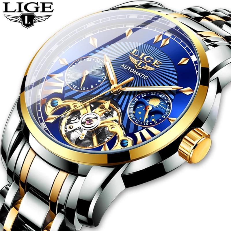 Наручные часы Lige Роскошные Автоматические механические Мужские Часы Классический Бизнес Турбийон Водонепроницаемый Мужской Наручные Часы Relogio Masculino