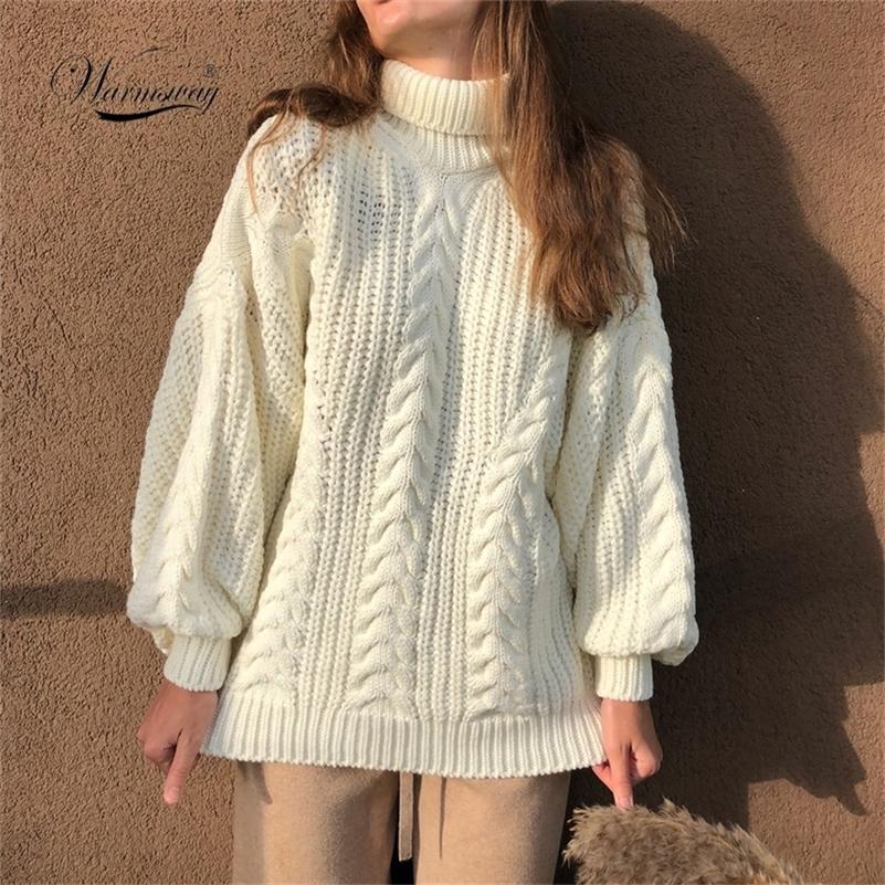 Женские водолазки свитера высокое качество осень зима тянуть перемычки европейский повседневный поворот теплый свитер женское негабаритное c-281 lj201130