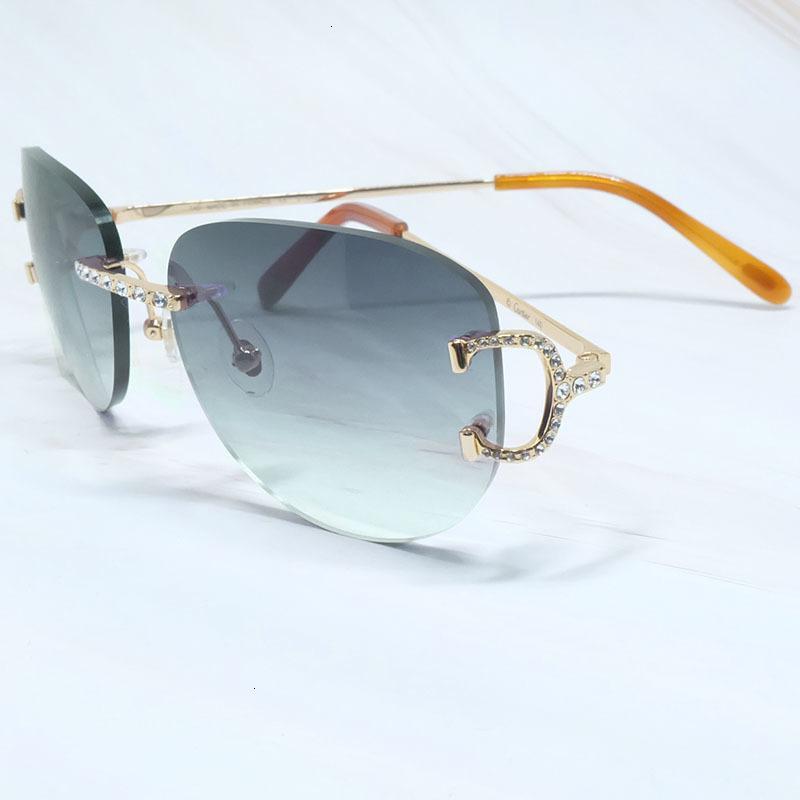 Lunettes de soleil métallique Diamant Hommes Ovale Designer Sun lunettes Femmes Strass Color Party Shase Summer 2021 Trimestre Lentes de s