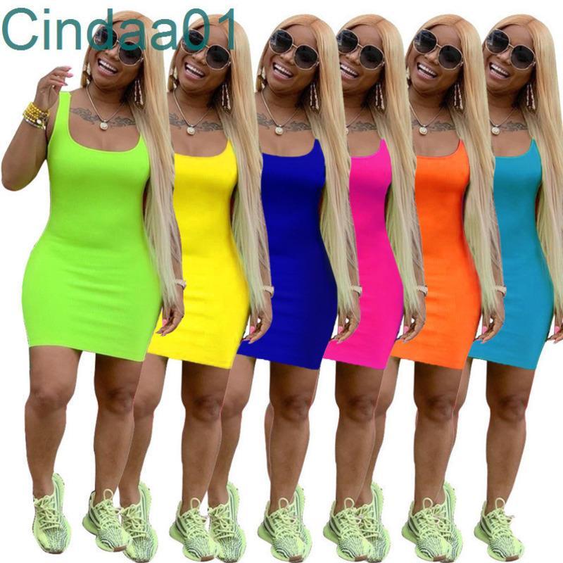 Kadın Yaz Elbise Mini Etek Kolsuz Tek Parça Elbise Parti Gece Kulübü Artı Boyutu Düz Renk Bayanlar Giyim