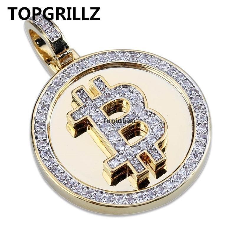 Topgrillz Hip Hop Altın Renk Renk Kaplama Buzlu Out Mikro Açacağı Zirkonya Yuvarlak Bitcoin Kolye Kolye Erkekler Için Üç Zincirler 201014