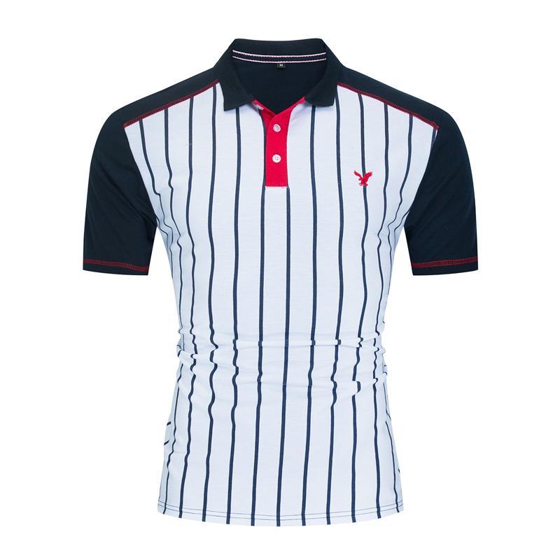 남자 colorblock 폴로 셔츠 100 % 코 튼 스트라이프 짧은 소매 망 패치 워크 폴로 티셔츠 남성 옴므 캐주얼 남성 골프 스포츠 셔츠 탑스 FM059