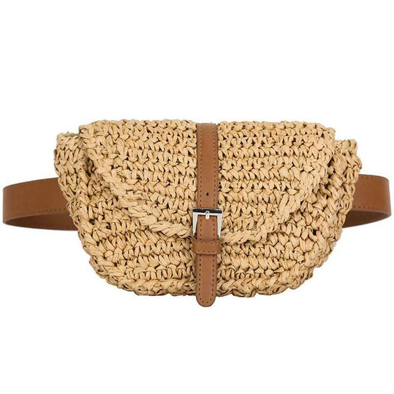 Bel çantaları kadın yarım daire saman bayan fanny paketi yaz plaj satchel göğüs çantası
