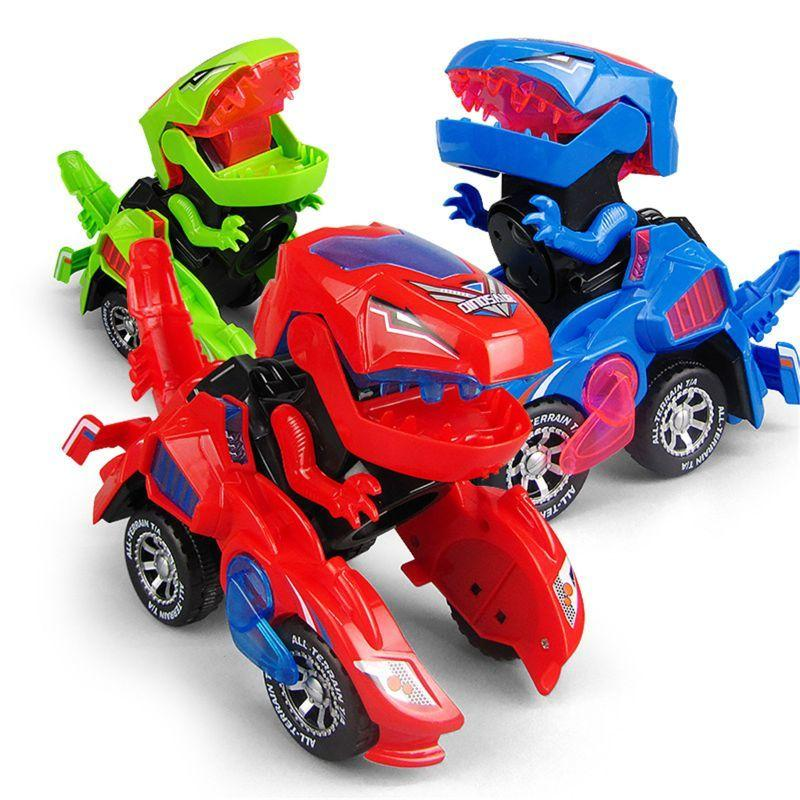 Verwandlung der Dinosaurier LED Auto Dinosaurier Transformation Auto Spielzeug Automatische Dino 19qf 210226