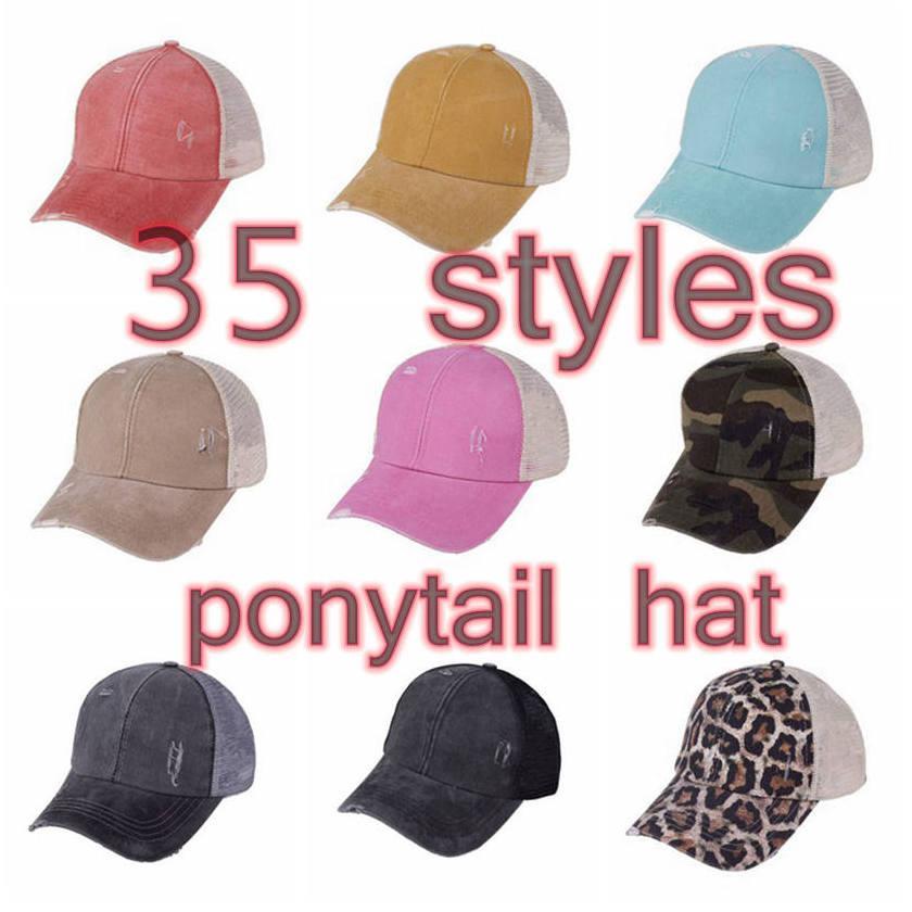 해바라기 포니 테일 모자 35 색 씻어 메쉬 메쉬 지저분한 롤빵 카모 표범 야구 모자 야외 스포츠 트럭 모자 CCA