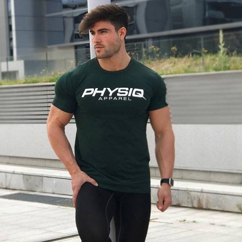 Muscle Fitness Brothers Sport Sport Estate Estate Estate Sottile manica corta Slim Fit Esecuzione T-shirt T-shirt