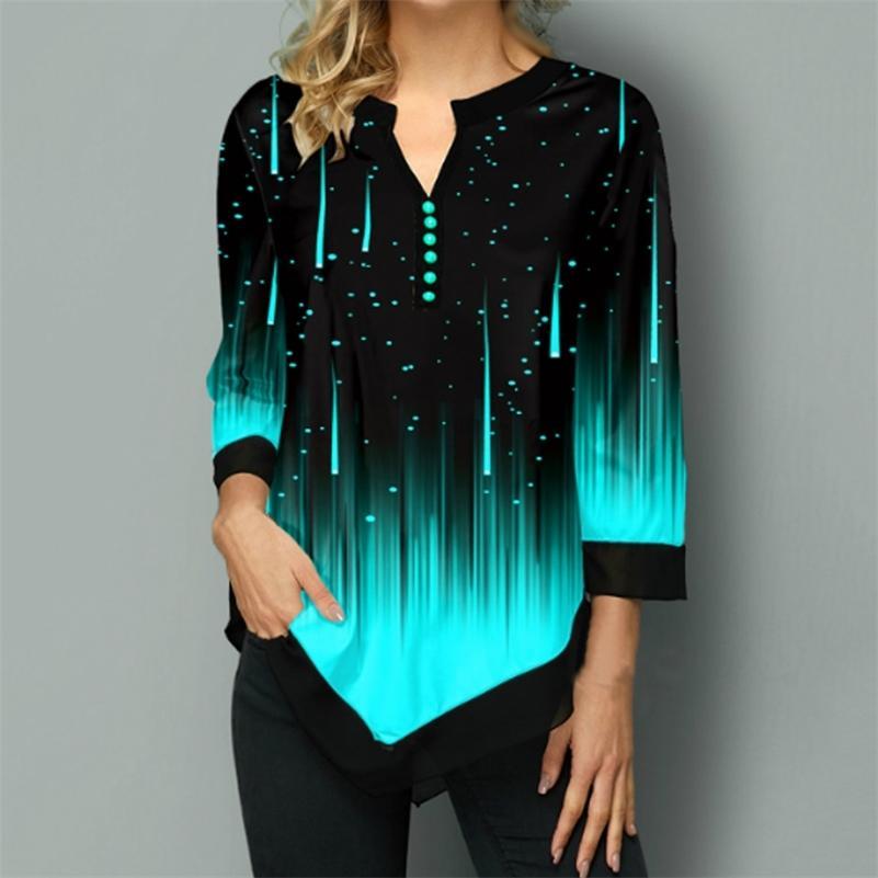 Плюс размер 5xL полосатые блузки женские туники 3/4 рукав печати нерегулярные женские блузки весна осень повседневная женская туника Top 210225