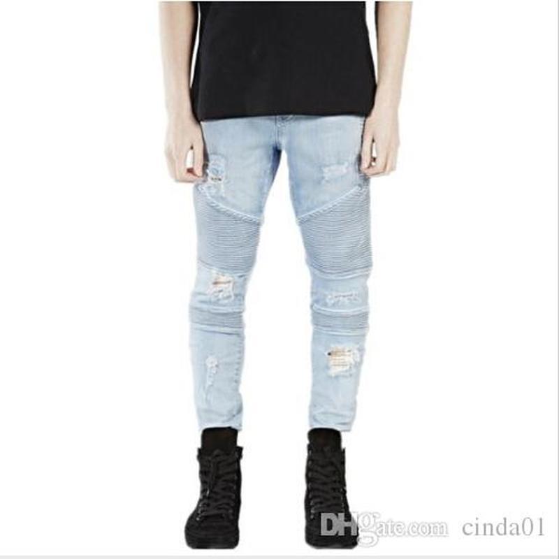 Мужские первые брюки одежды SLP синий / черный уничтожены мужские тонкие джинсовые прямые байкерские джинсы джинсы разорванные джинсы