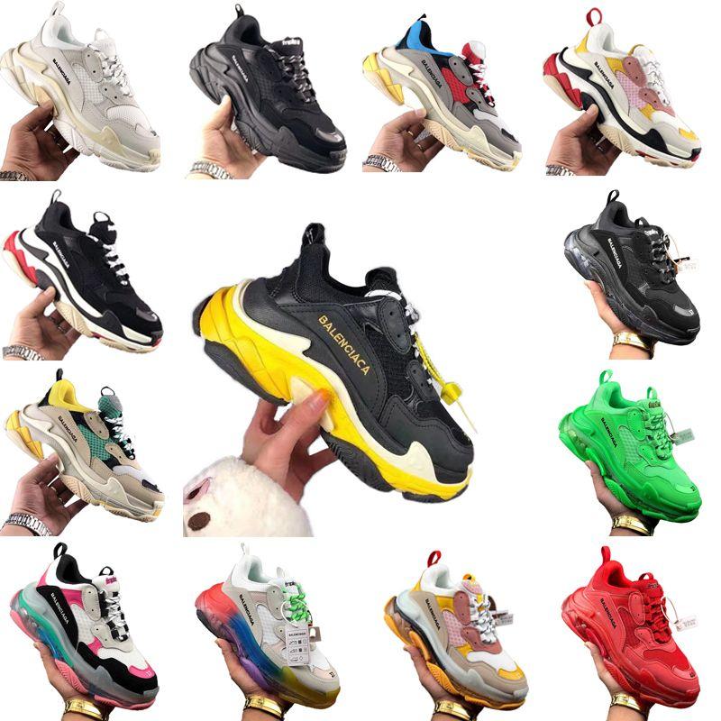 2021 moda homens mulheres designers triplo s instrutor sapatos plataforma casual paris 17fw velho pai velho grande crescente sapatilhas esportes