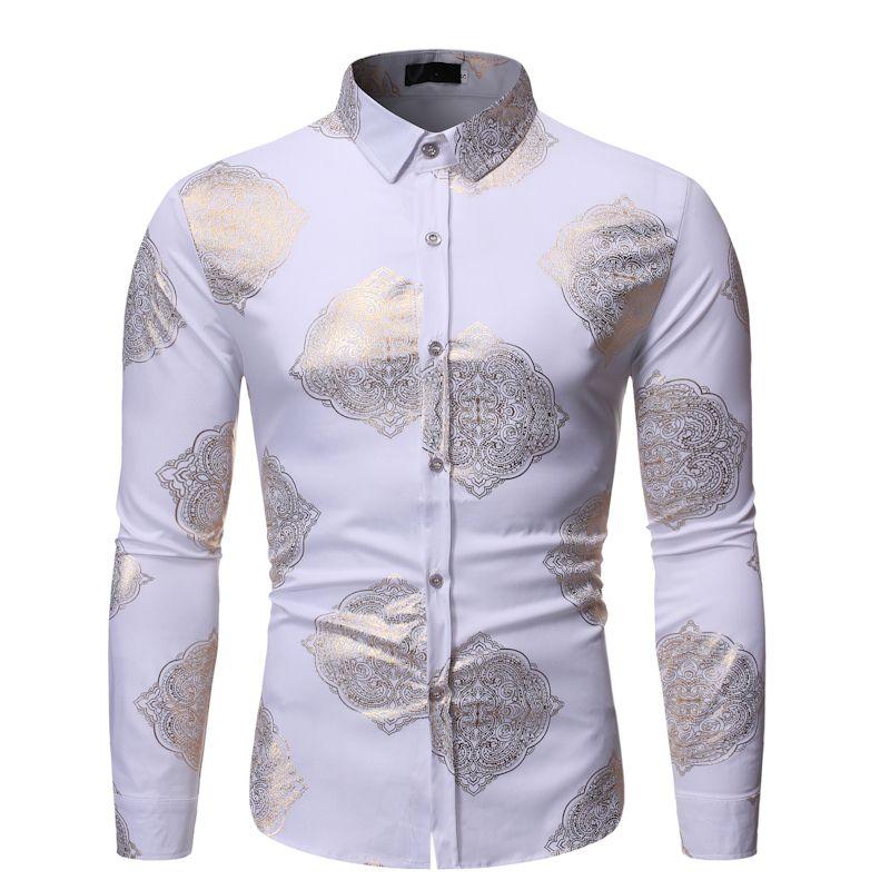 Shinny shirts 남자의 남자 버튼 남성용 금 도금 플로랄 인쇄 세련된 수 페리 어 슬림 맞춤 긴 소매 힙합 파티 나이트 클럽 셔츠 A13