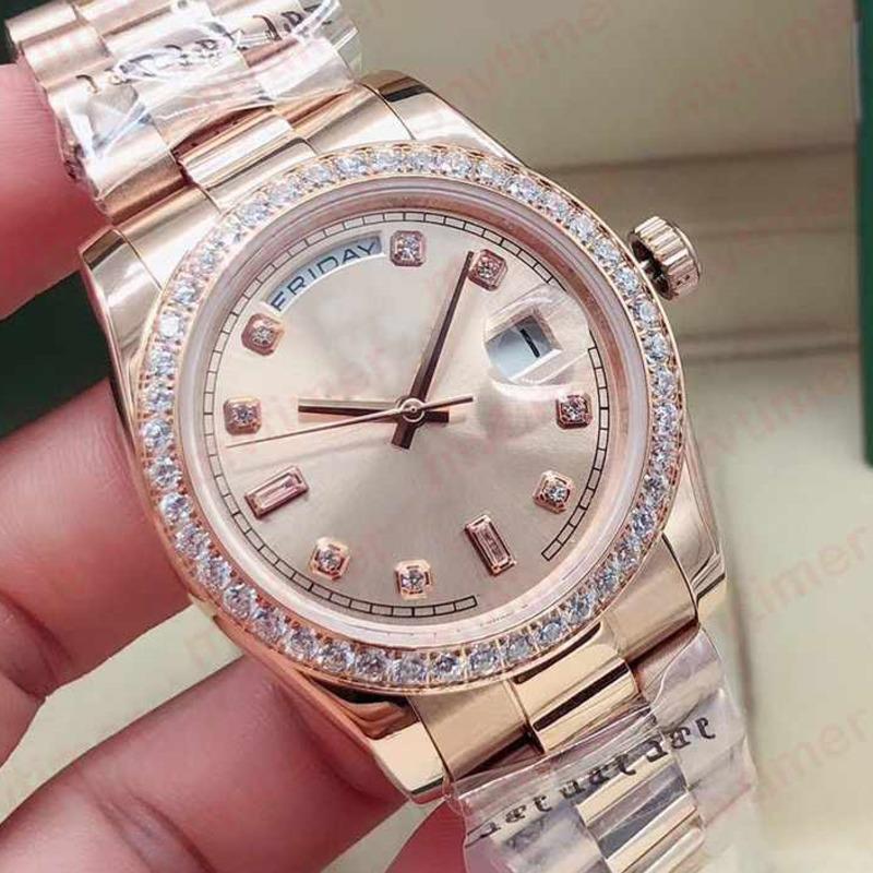 패션 36mm 로즈 골드 남성 자동 기계 다이아몬드 팔찌 디자이너 Womens 숙녀 망 시계 다이아몬드 시계 손목 시계 2021