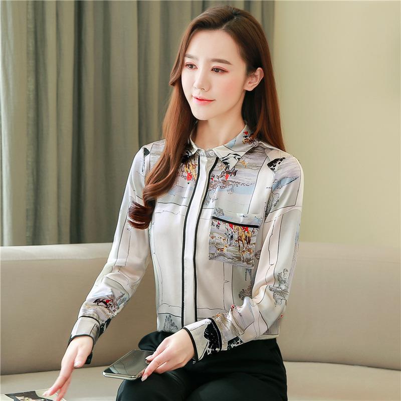 Elegant Printing Long Sleeve Chiffon Blouse Satin Silk Turn-over Collar Women Shirt Tops Chemisier Femmel New Spring