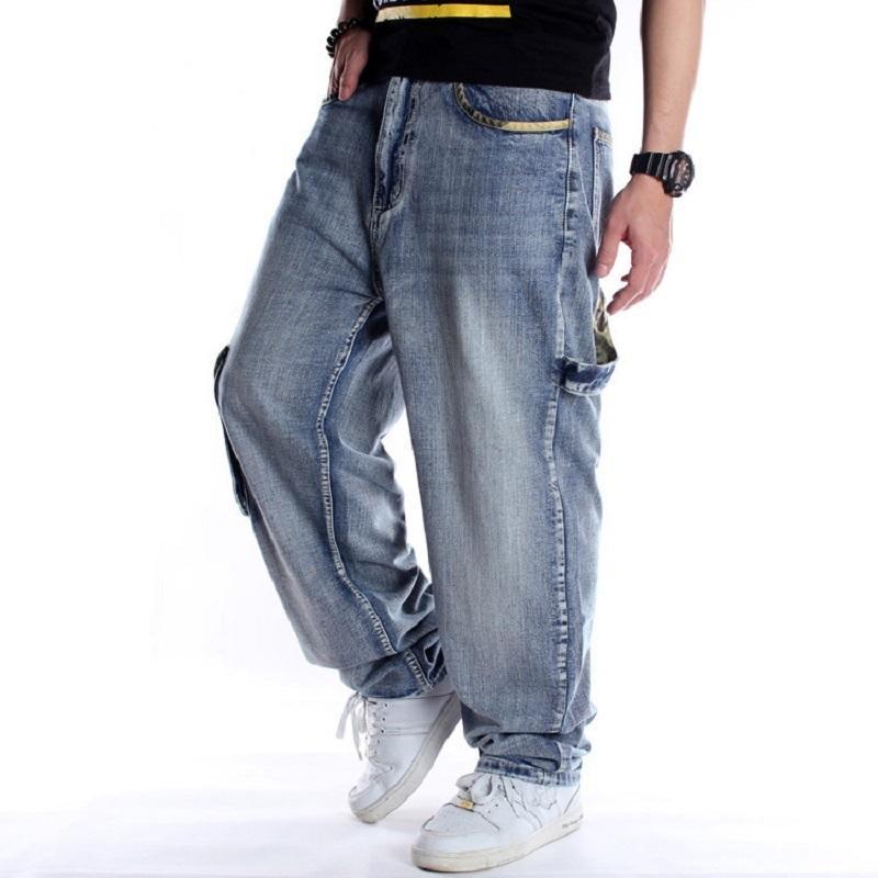 Хип-хоп боковые карманы комбинезон мужчин джинсовые брюки гарем мужской большой размер 44 46 мешок свободно подходят мужские джинсы