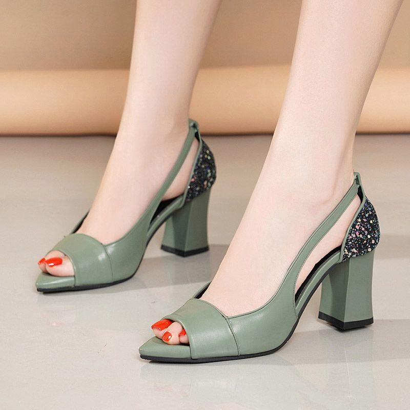 Yaz Peep Toe Yüksek Topuklu Geri Bling Pompaları Açık Burun Elbise Ayakkabı Tıknaz Topuklu Sandalet Kadın Ayakkabı Mujer 7424