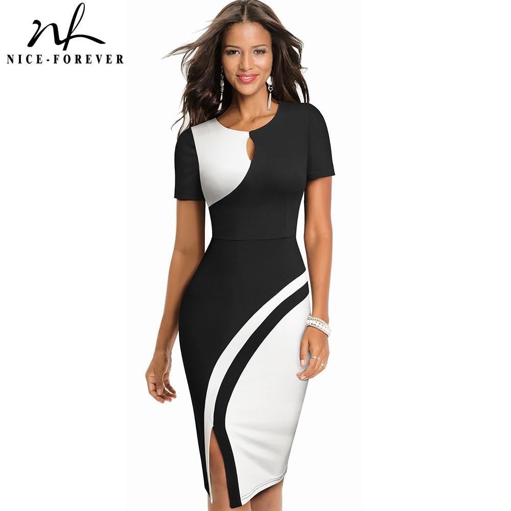 Niza-Forever New Spring Elegant Elegante Contraste Color Patchwork Office Work Vestidos Business Bodycon Mujer Vestido B571 210303