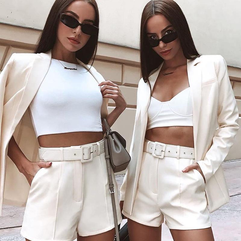 2020 autunno inverno donne blazer / pantaloncini set 2 pezzi set ufficio set da ufficio plus size outfit giacca casual largo gamba coord pantaloni