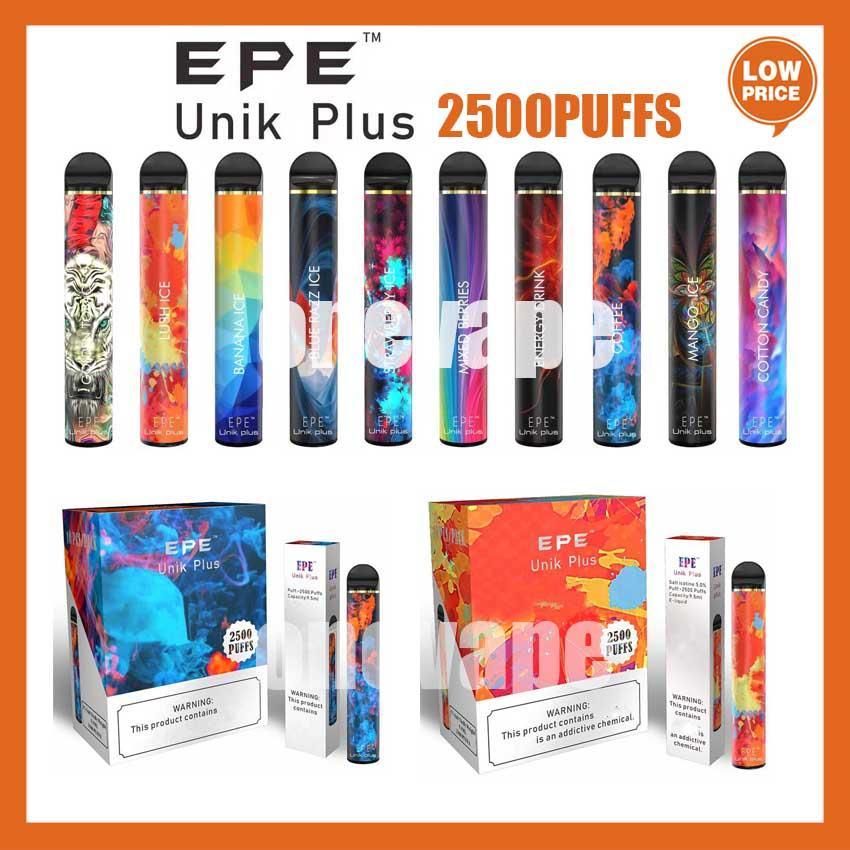 100% аутентичные EPE UNIK PLUS IPE Одноразовый Vape POD 2500Установок 1600 мАч Батарея 10 цветов Предварительно заполненные 9,5 мл Pods E Cigarettes Vaporizers