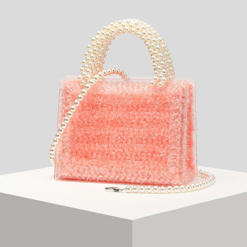 2021 Nuevo bolso de la dama de acrílico perla con cuentas de un solo hombro inclinado pequeño bolso cuadrado de punto de tejido Línea de gancho bolsa de mano