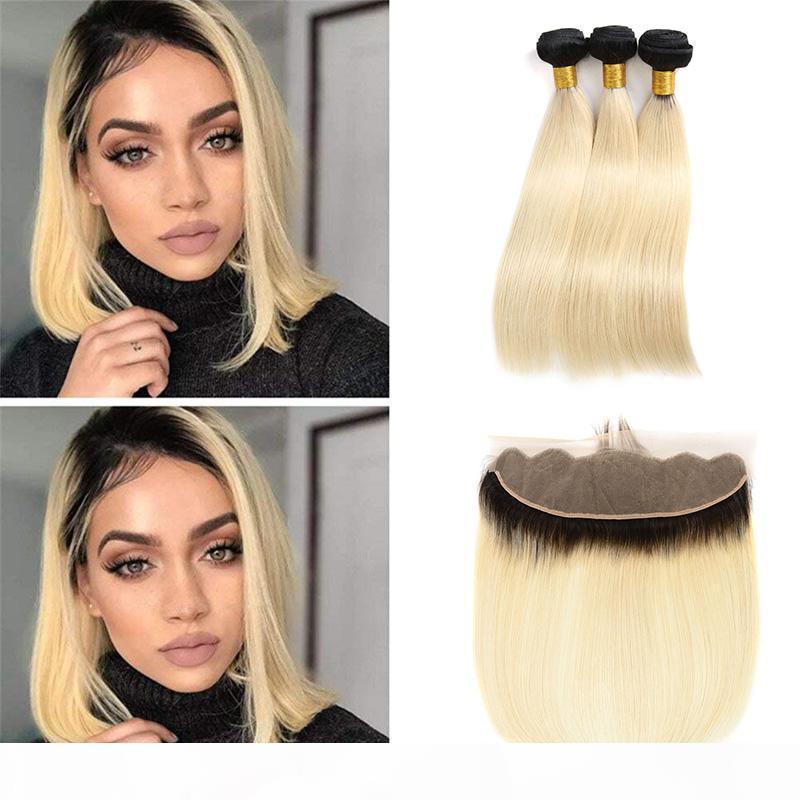 Brezilyalı Bal Sarışın Ombre İnsan Saç Demetleri Dantel Frontal Kapatma ile Fiyatlar Düz 1B 613 13x4 Tam Dantel Frontal Örgüleri ile