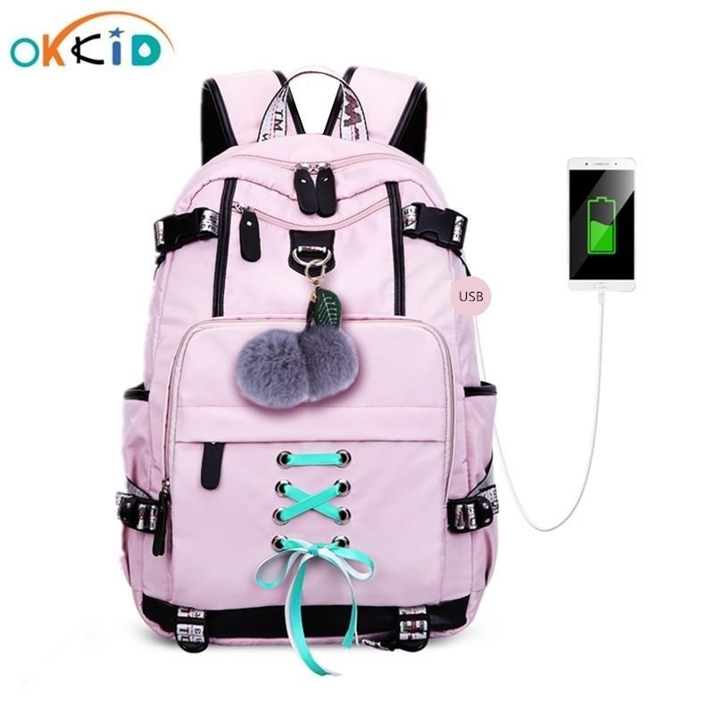 Okkid High School Taschen für Teenager-Girls Große Schule Rucksack Weibliche Reise Laptop Rucksack 15.6 USB-Gebührenbeutel Plüschkugel Geschenk 210306
